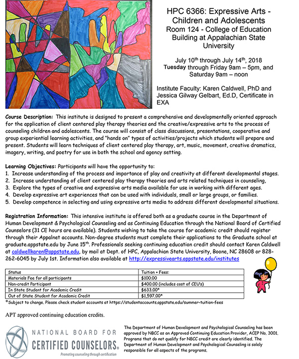 The Children & Adolescent Expressive Arts Institute 2018 Flyer.